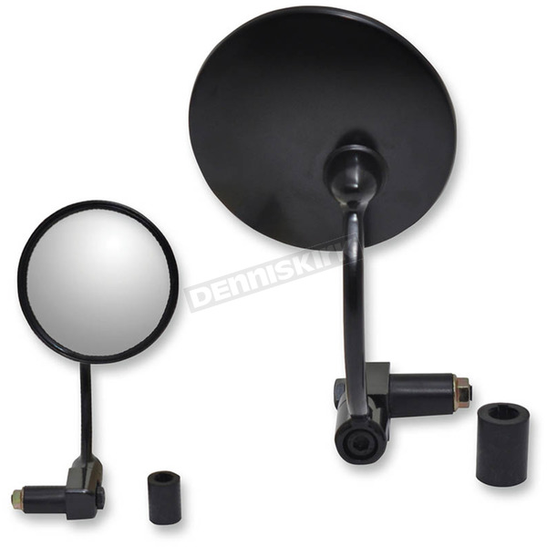 Parts Unlimited Black Left/Right Round Bar End Mirror - 0640-0931
