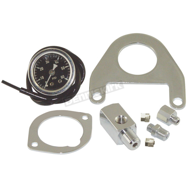 V-Factor Black/Chrome Twin Cam Oil Pressure Gauge Kit - 85213
