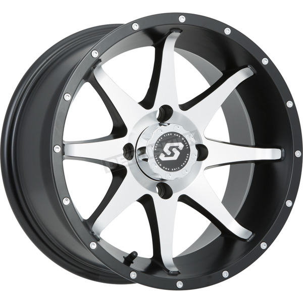 Sedona Front/Rear Black Machined Storm 12 x 7 12mm Stud Wheel - 570-1165