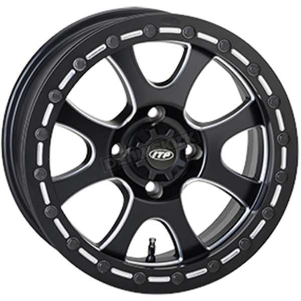 ITP Front/Rear Matte Black Tsunami 15x7 Simulated Bead Lock Wheel - 1522081727B