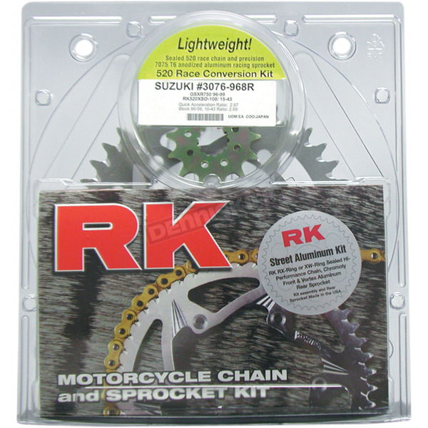 RK Gold Suzuki GB520XSO Chain and Sprocket Race Kit - 3066-118DG