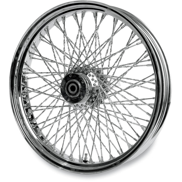 Paughco 21 in. x 3.5 in. Chrome 80-Spoke Front Wheel Assembly w/Twisted Spokes - 06-106