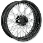 21 in. x 2.15 in. Front Spoked Black Ops Custom Wire Wheel  - 12146103RSPKSMB
