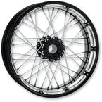 18 in. x 5.5 in. Rear Spoked Platinum Cut Custom Wire Wheel for Models w/o ABS  - 12706814RSPKBMP