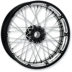 Performance Machine 23 in. x 3.5 in. Front Spoked Platinum Cut Custom Wire Wheel for Models w/o ABS  - 12026306RSPKBMP