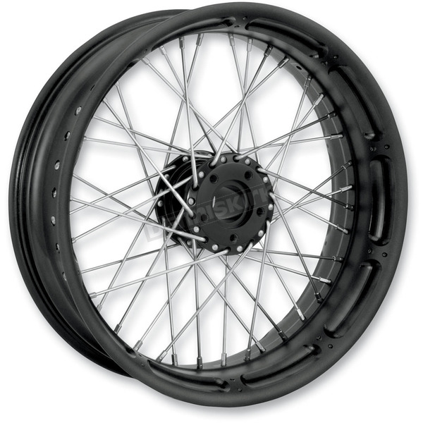 Performance Machine 23 in. x 3.5 in. Front Spoked Black Ops Custom Wire Wheel for Models w/ ABS - 12046306RSPKSMB