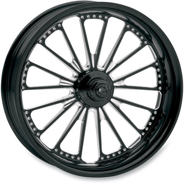 Roland Sands Design 21 in. x 3.5 in. Domino One-Piece Contrast Cut Aluminum Wheel - 12047106DOMJBM